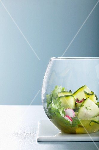 Cucumber salad with radishes and parsley