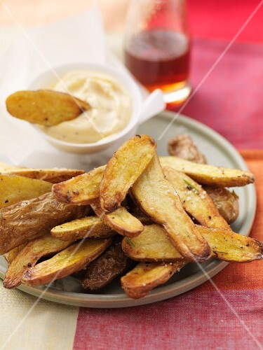 Roasted Fingerling potatoes with a dip