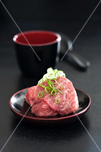 Wagyu beef with chervil and sliced spring onions