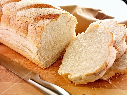 White bread, partly sliced
