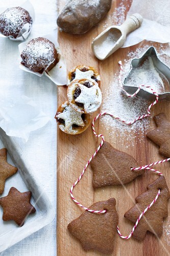 Nut and date muffins, mince pies and gingerbread shapes