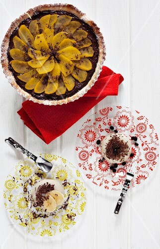 Coffee panna cotta, banana panna cotta and a chocolate and pear tarte