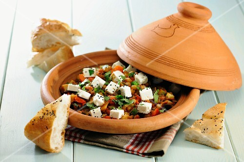 Vegetarian Tagine with chick peas and sheep s milk cheese, selective focus