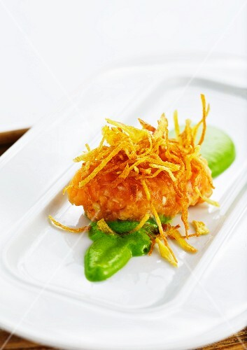 Char tartare with crispy potato straw on lettuce purée