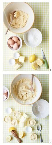Lemon cupcakes being prepared