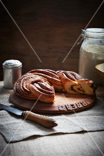 Cinnamon bread on a wooden slab