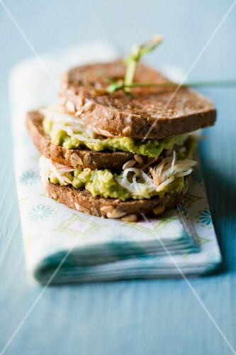 A crab and guacamole sandwich