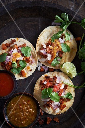 Three Taco Al Pastor with Two Types of Salsa; From Above