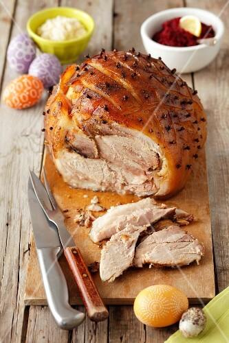 Studded roast pork