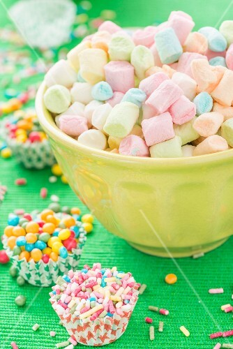 Colourful mini marshmallows, sugar sprinkles and sugar balls