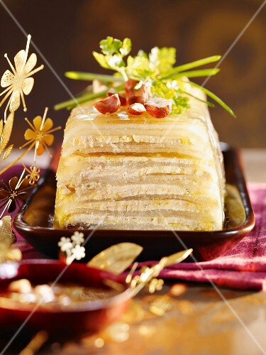 Goose liver terrine with apple and hazelnuts