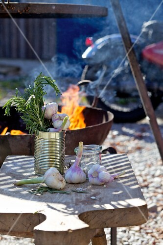 Garlic and rosemary on a wooden board in front of the barbecue, with a motorbike in the background