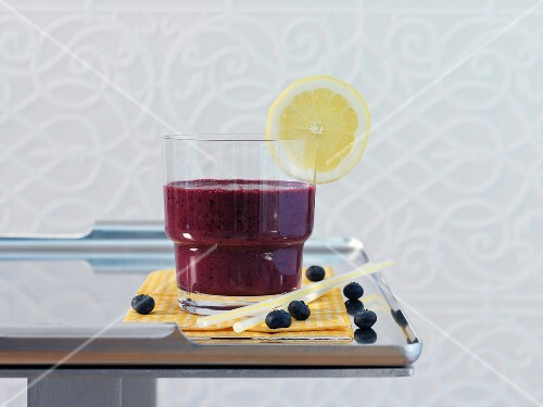 A drink made with blueberries and buttermilk