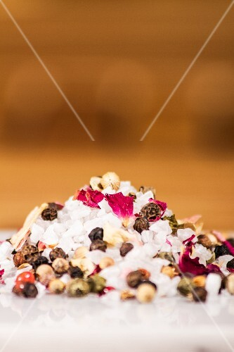 Salt with spices and dried rose petals
