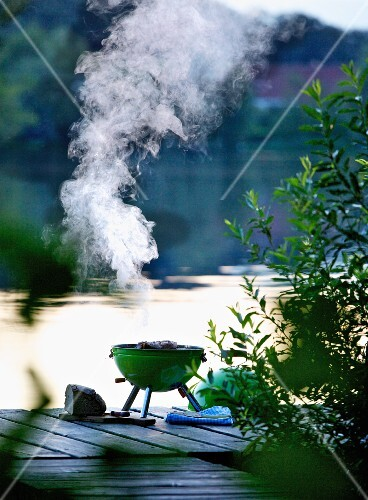 A smoking barbecue on a wooden jetty by a lake