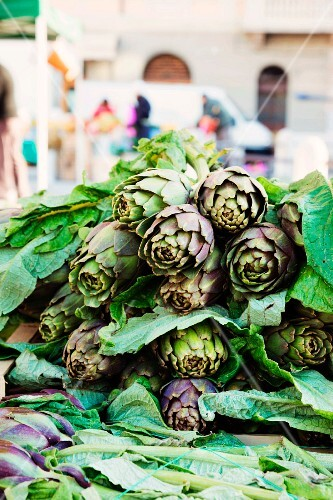 A pile of artichokes at the market