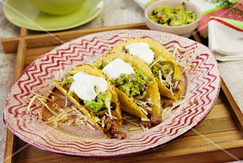 Tacos with guacamole and sour cream (Mexico)