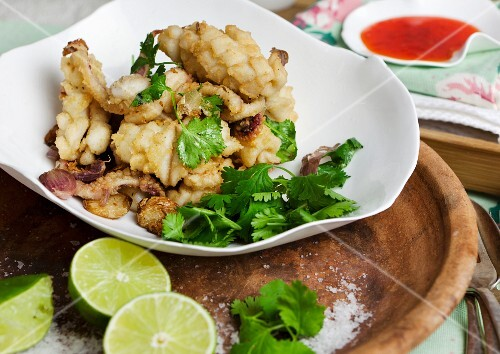 Squid with coriander and lime