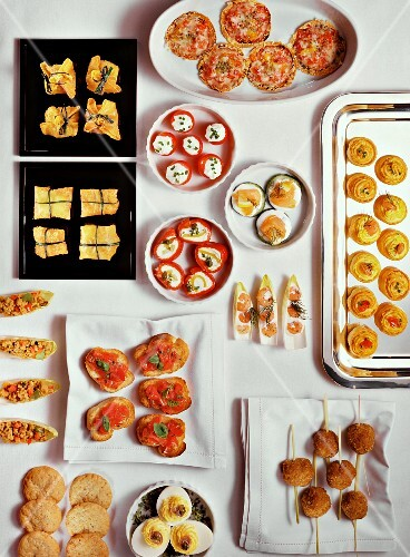 Assorted canapés and bruschetta