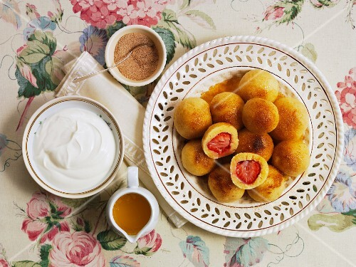 Semolina dumplings with strawberry centres (Czech Republic)