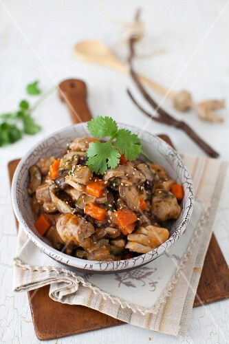 Sesame Chicken Stew with Shiitake Mushrooms in a Bowl