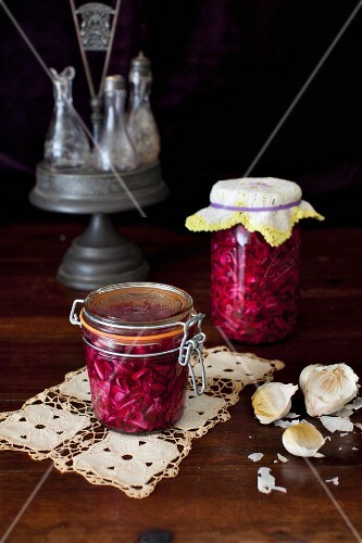 Jars of Pickled Cabbage; Garlic Bulbs