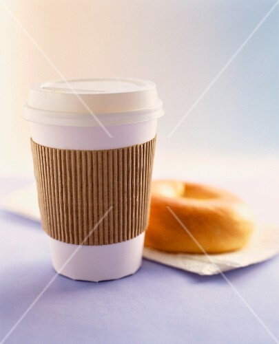 Take away Coffee and a Plain Bagel