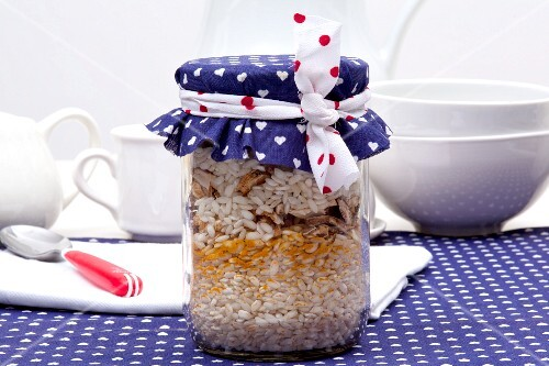 Mushroom risotto mix, in a jar as a gift