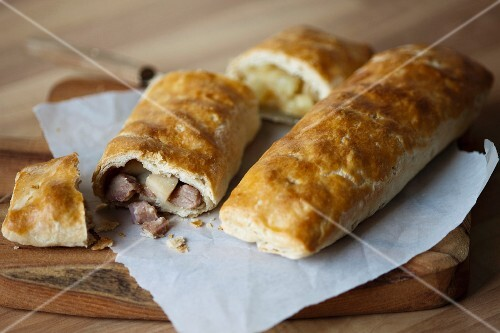 Bedfordshire clanger (English pastry parcel, one half with savoury ...