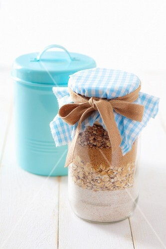 Dry ingredients for making oat biscuits, in a jar