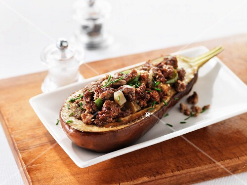 Aubergine with mince stuffing