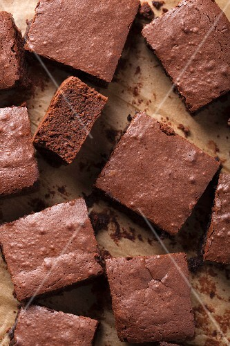 Brownies on grease-proof paper (view from above)