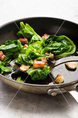 Spring Cabbage with Bacon and garlic