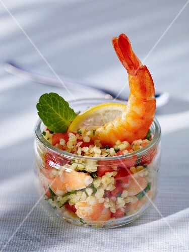 Tabbouleh with prawns