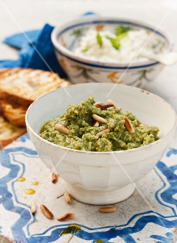 Bean dip with basil, parmesan and pine nuts