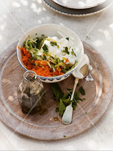 Grated carrot and courgette with yoghurt