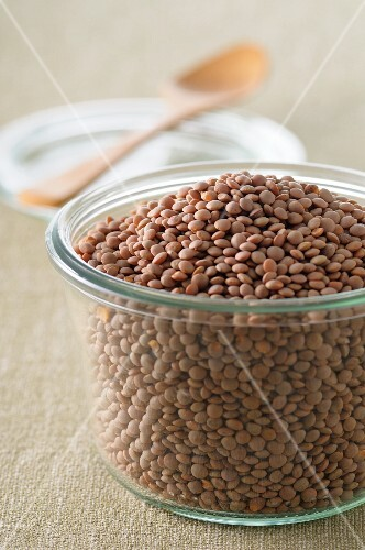 Lentils in a glass pot