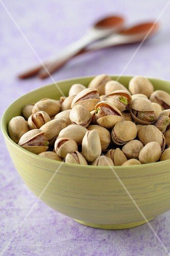 Toasted pistachios in a bowl