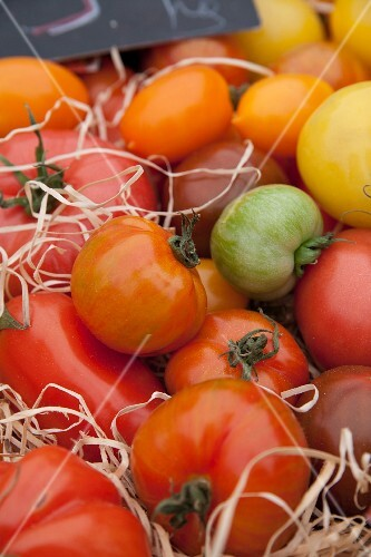 Colourful tomatoes at the market