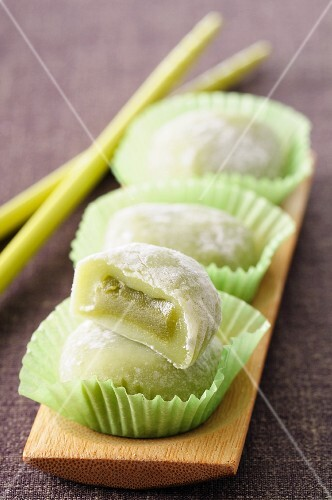 Mochi with green tea (Japan)