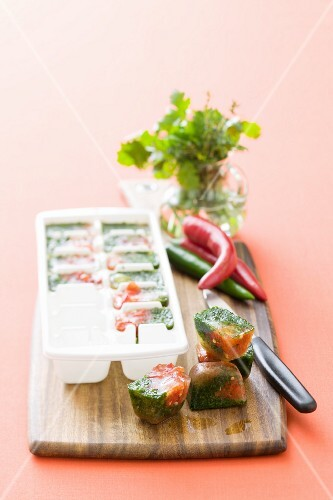 Herb and vegetable ice cubes