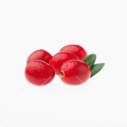 Five cranberries with water droplets