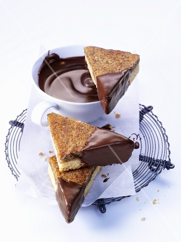 Chocolate-coated nut triangles
