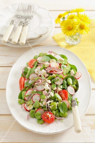 Fat bean salad with radishes and cherry tomatoes