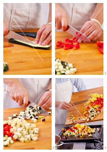 Vegetables being diced