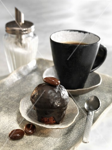 Espresso muffin with chocolate icing