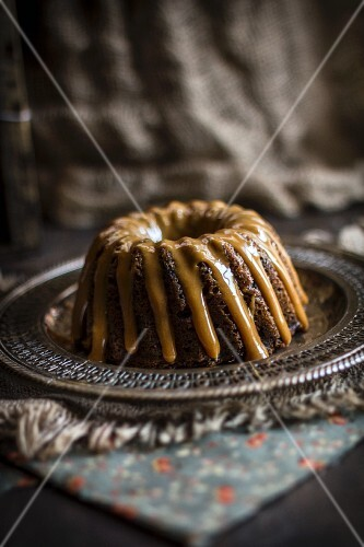 Glazed Bundt Cake on a Silver Platter