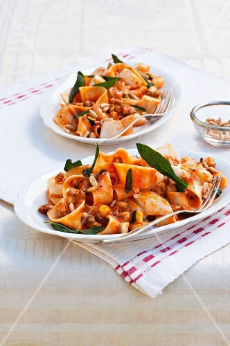 Pappardelle pasta with fillet of fish, sage and pine nuts
