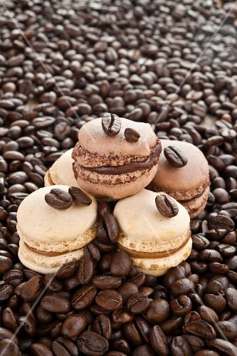 Home-made coffee and vanilla macaroons