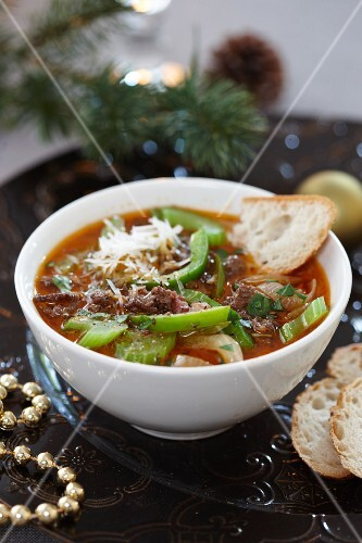 Minced meat soup with celery for Christmas